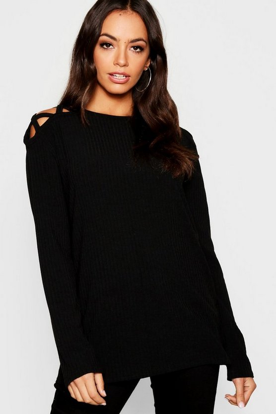 Womens Black Sleeve Detail Rib long Sleeve Top