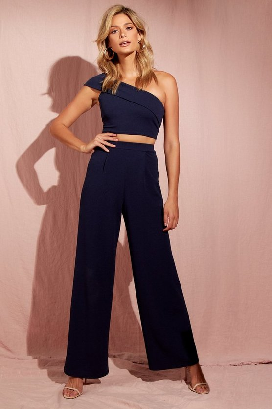 Womens Navy Pleated Wide Leg Trousers