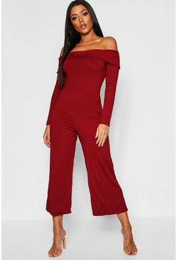 Berry Basic Jumbo Ribbed Bardot Culotte Lounge Jumpsuit