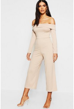 Womens Stone Basic Jumbo Ribbed Bardot Culotte Lounge Jumpsuit