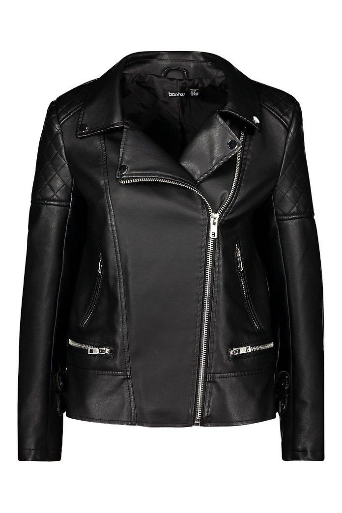 f7814a2cf Oversized Faux Leather Biker Jacket   Boohoo