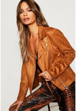 Womens Tan Suedette Biker Jacket