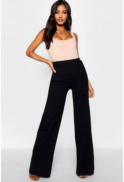 Womens Black Tie Waist Trouser
