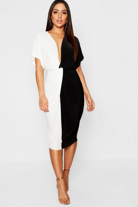 Black Plunge Colour Block Twist Front Midi Dress