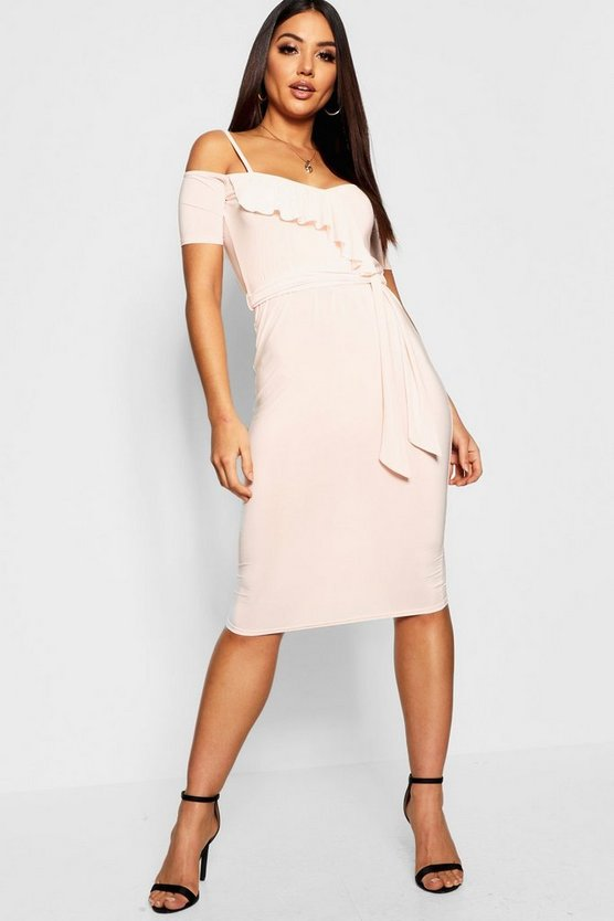 Wrap Ruffle Cold Shoulder Midi Dress