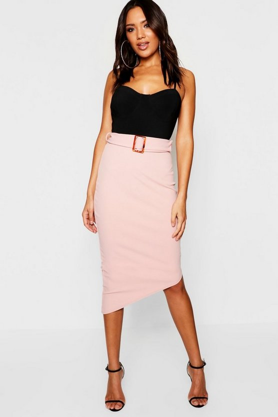 Belted Asymmetric Hem Midi Skirt