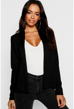 Womens Black Lapel Jersey Blazer