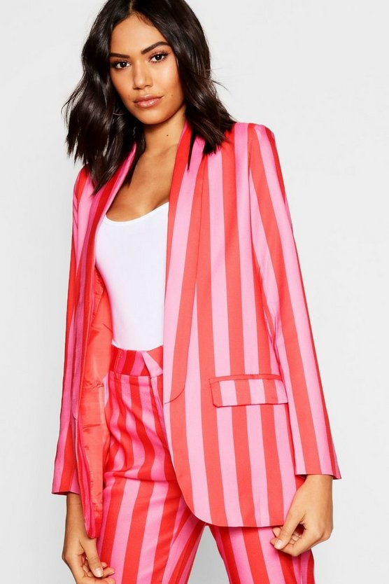 Womens Pink Woven Stripe Lapel Detail Blazer