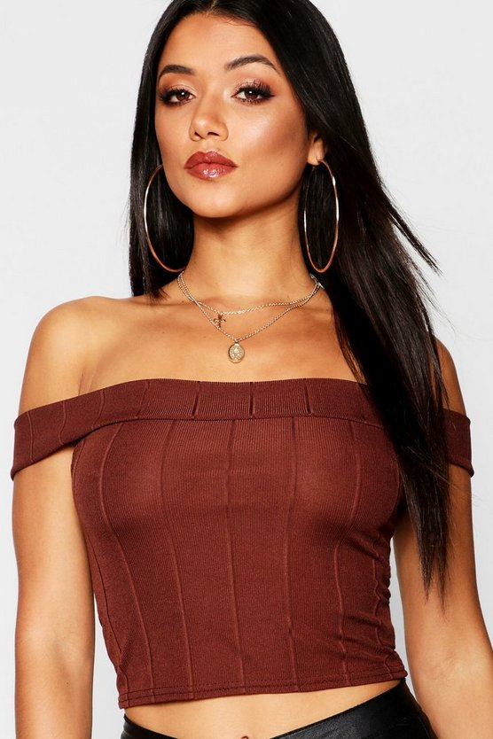 Womens Brown Bandage Off The Shoulder Top