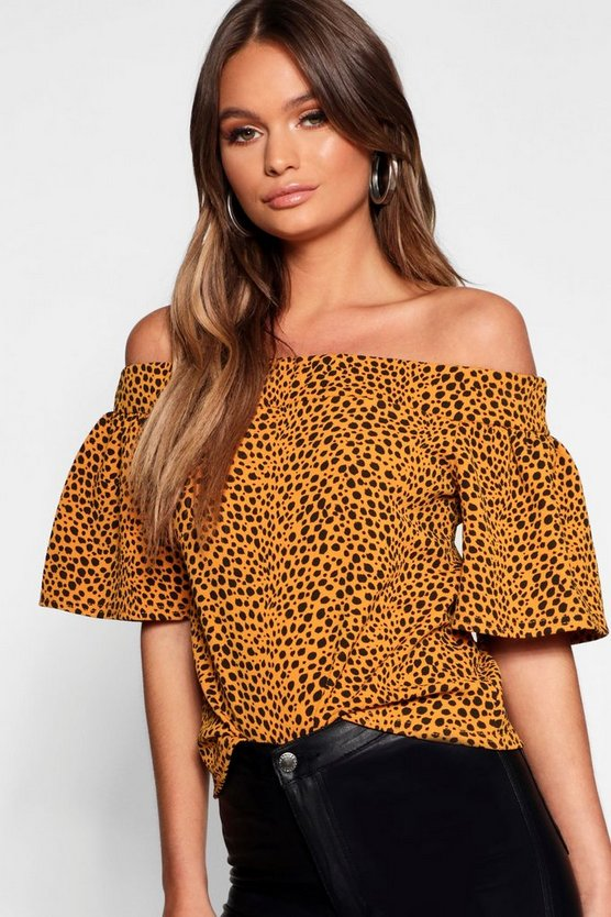 Mustard Animal Print Off The Shoulder Top