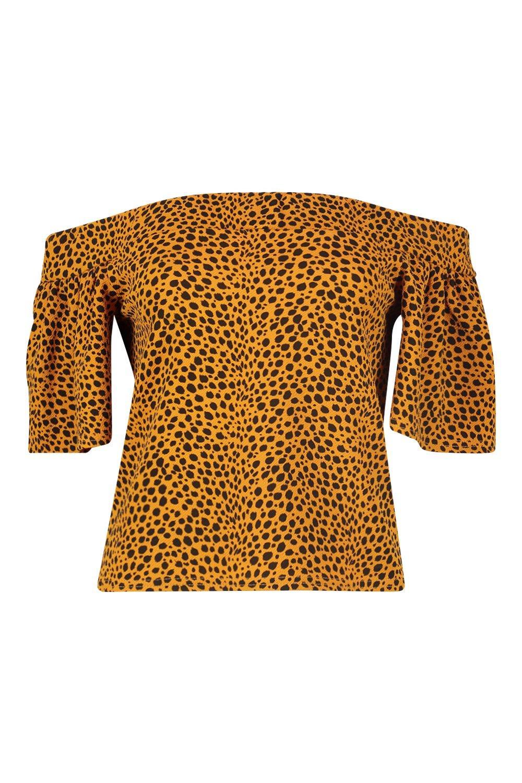 leopardo descubiertos de hombros con Top estampado mostaza y qUnT1