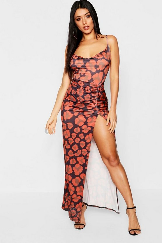 Leopard Print Thigh Split Maxi Dress