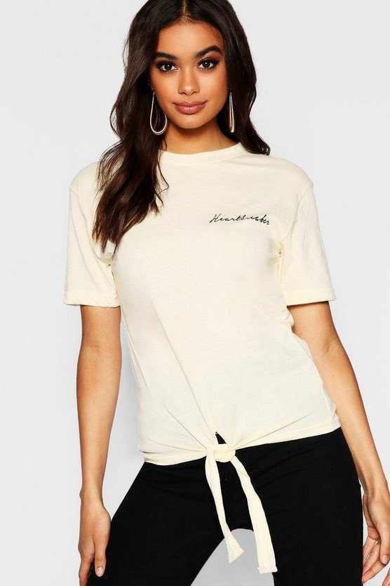 Heartbreaker Slogan Pocket Placement T-Shirt