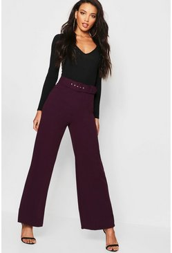 Womens Jewel purple Self Belt Wide Leg Trouser