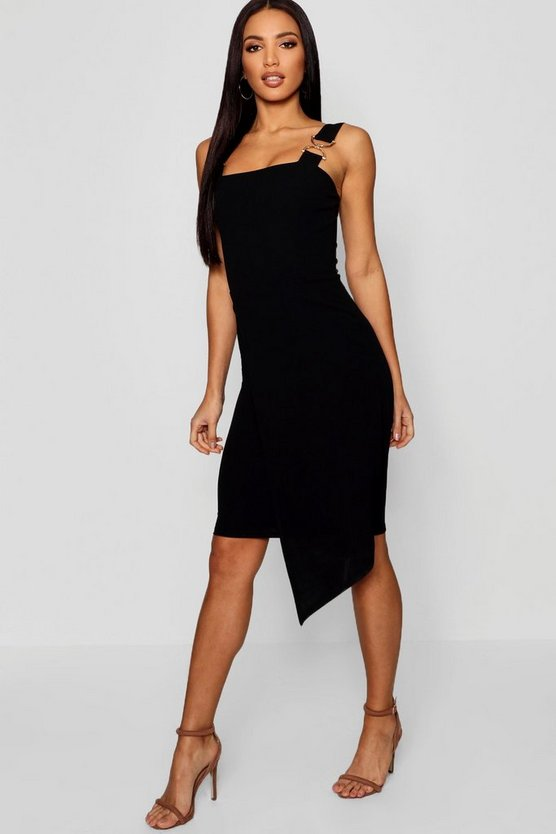 Gold Trim Asymmetric Hem Midi Dress