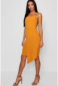 Womens Mustard Gold Trim Asymmetric Hem Midi Dress