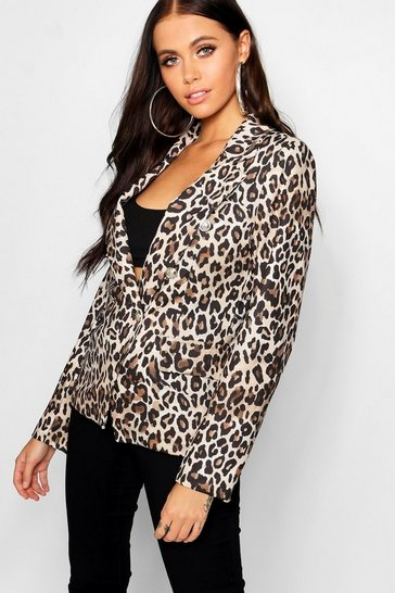 Womens Natural Leopard Military Button Blazer