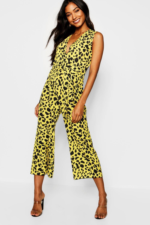 amarillo cruzado Enterizo estampado largo con leopardo estilo de culotte Bqw785Zq