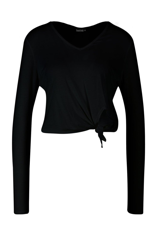 V nudo manga de negro detalle y larga básica en con Camiseta cuello de PwZnx0FqE6