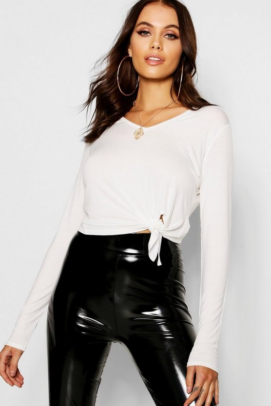 Basic Knot Front V Neck Long Sleeve T Shirt by Boohoo