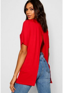 Womens Red Split Open Back T-Shirt
