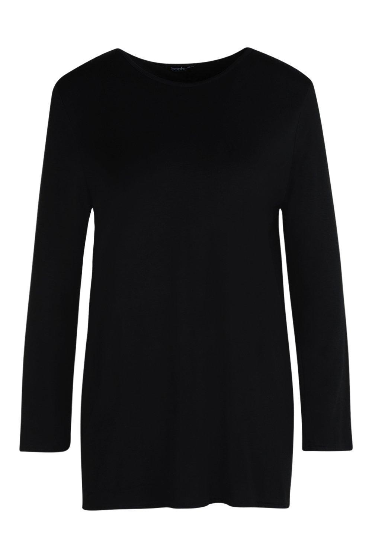 espalda y larga de Camiseta descubierta negro manga WIq0Hnwva