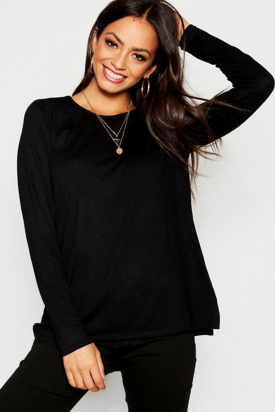 Womens Black Basic Long Sleeve Split Side Top