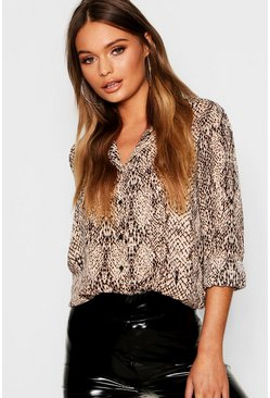 Womens Black Snake Print Shirt