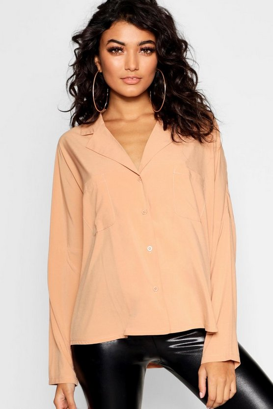 Womens Camel Long Sleeve Revere Collar Shirt