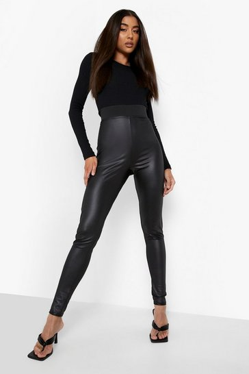 Womens Black Cropped High Waist Wet Look Leggings