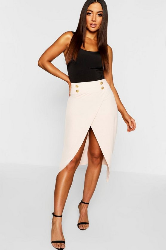 Gold Button Asymmetric Split Midi Skirt