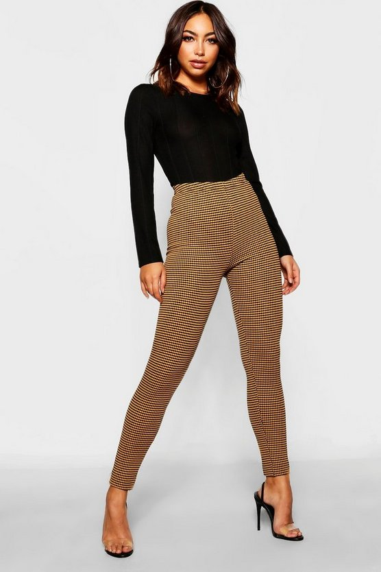 Womens Mustard Jacquard Gingham Check High Waist Leggings