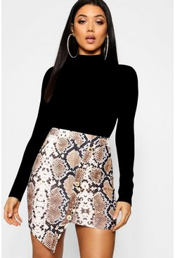 Tan Asymmetric Gold Button Snake Print Mini Skirt