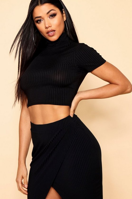 Jumbo Rib Polo Neck Crop