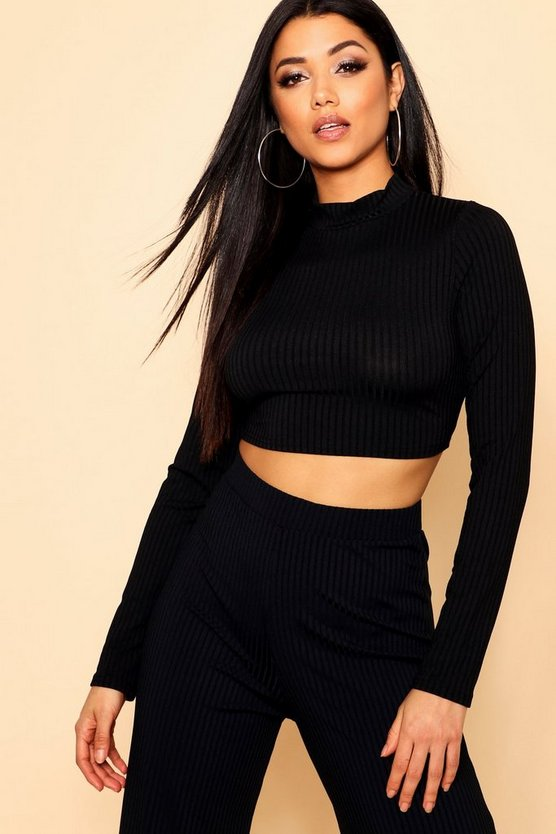 Jumbo Rib Curved Hem Turtle Neck Crop