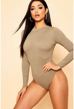 Womens Khaki Jumbo Rib Polo Neck Bodysuit
