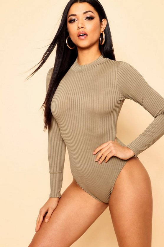 Jumbo Rib Polo Neck Bodysuit