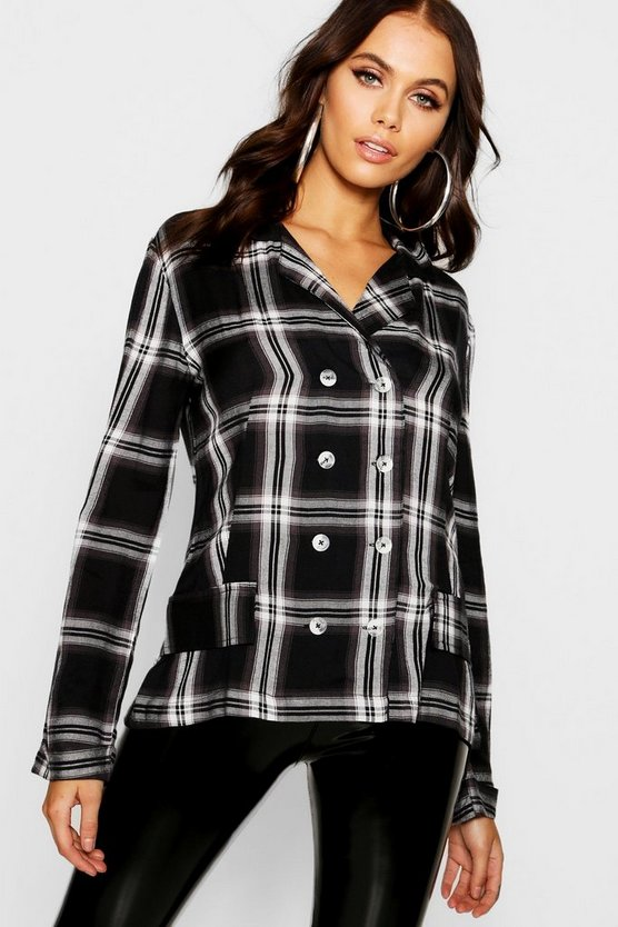 Black Check Double Breasted Shirt