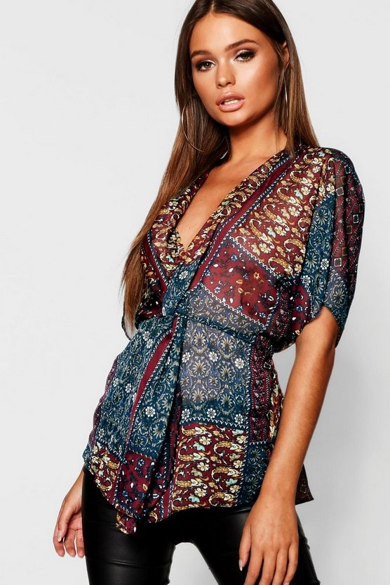 Womens Berry Boho Print Knot Front Blouse
