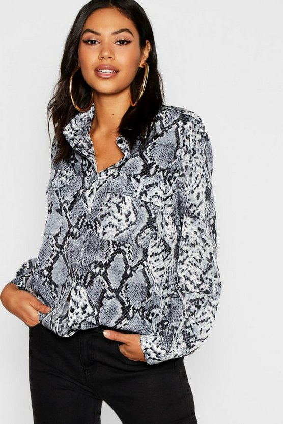 Womens Grey Snake Print Utility Shirt
