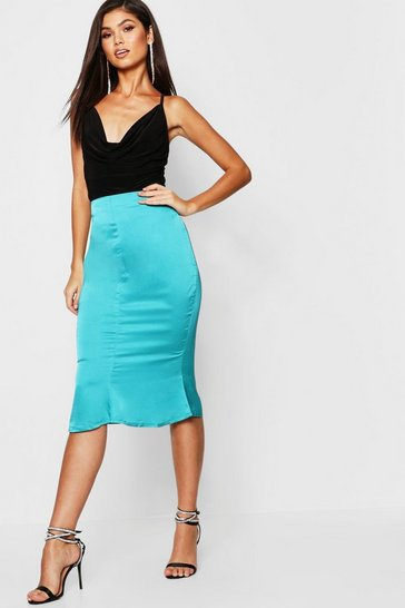 Womens Teal Satin Flute Hem Midi Skirt
