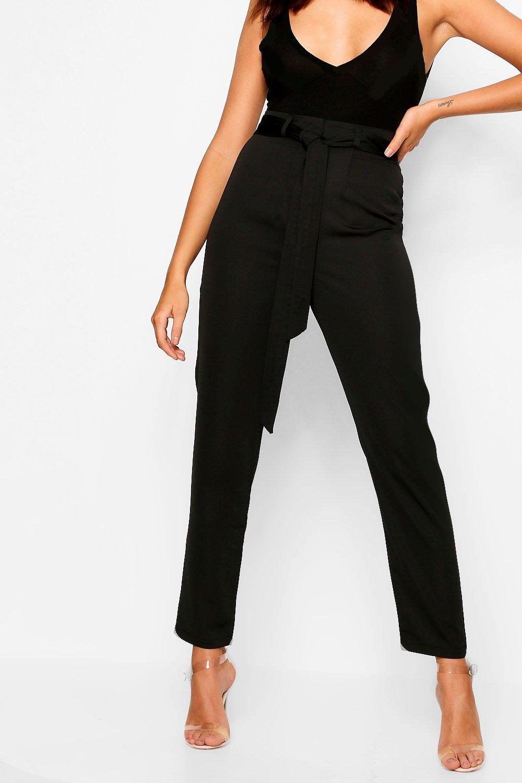 Pantalones negro satén en tejidos pitillo rtCIqr