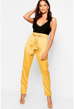 Womens Mustard Woven Satin Slimline Trousers