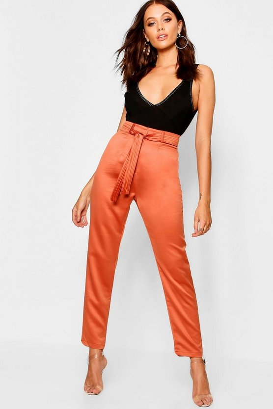 Womens Rust Woven Satin Slimline Pants