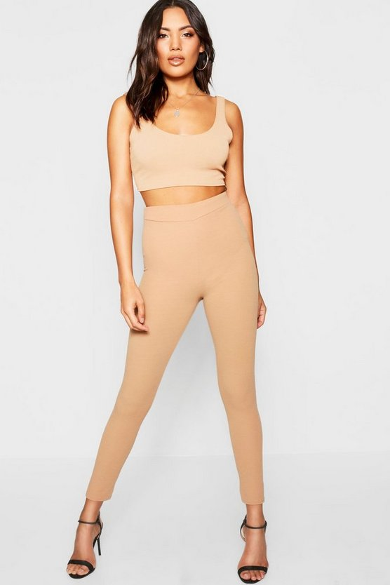 High-waist-Leggings aus Krepp