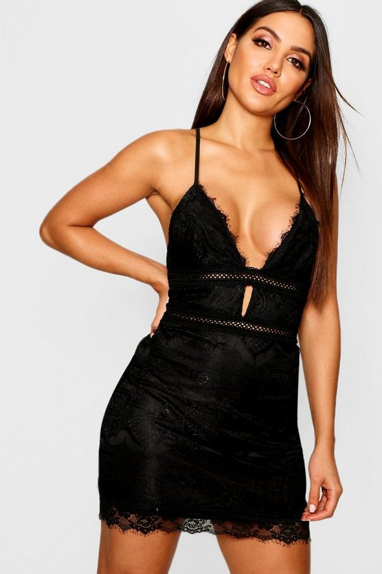 Eyelash Lace Trim Detail Bodycon Dress