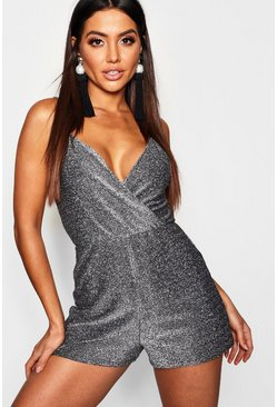Womens Silver Metallic Strappy Wrap Playsuit