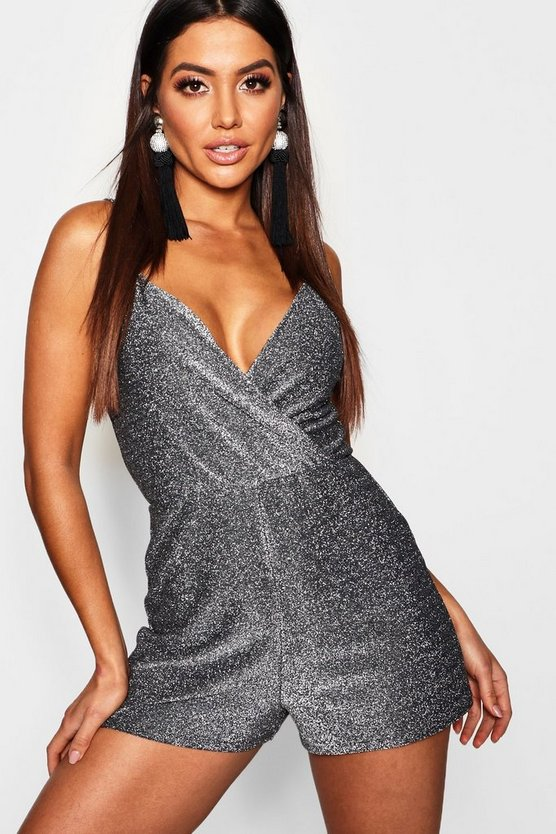 Womens Silver Metallic Strappy Wrap Romper