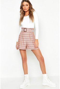 Womens Brown Check Belted Paperbag Shorts