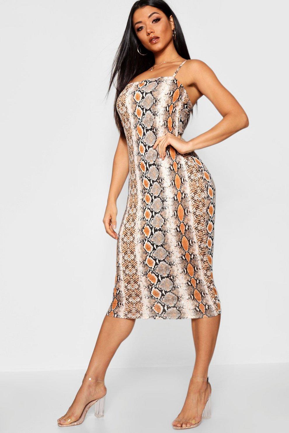 612090f9ea42 Snake Print Midi Spaghetti Strap Dress | Boohoo
